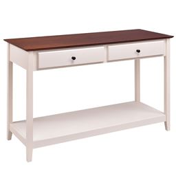Entryway Wood Console Accent Table with Drawer and Shelf