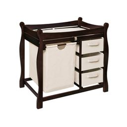 Badger Basket Co Espresso Sleigh Style Changing Table with Hamper/3 Baskets