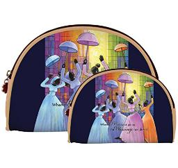 African American Expressions - Praises Go Up/Ladies with Umbrellas Cosmetic Bags (Set of two) COS-12