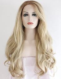 SeraphicWig Women's Long Wavy Synthetic Wigs 2 Tones Ombre Blonde Lace Front Wig Brown Roots For Women Heat Resistant Fiber Hair Half Hand Tied 24 inches