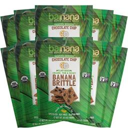 Barnana Organic Crunchy Banana Brittle - Toasted Coconut Chocolate Chips, 3.5 Ounce (10 Count) - Healthy Vegan Cookie Style Dessert Snack - Made with Sustainable, Eco Friendly Upcycled Bananas