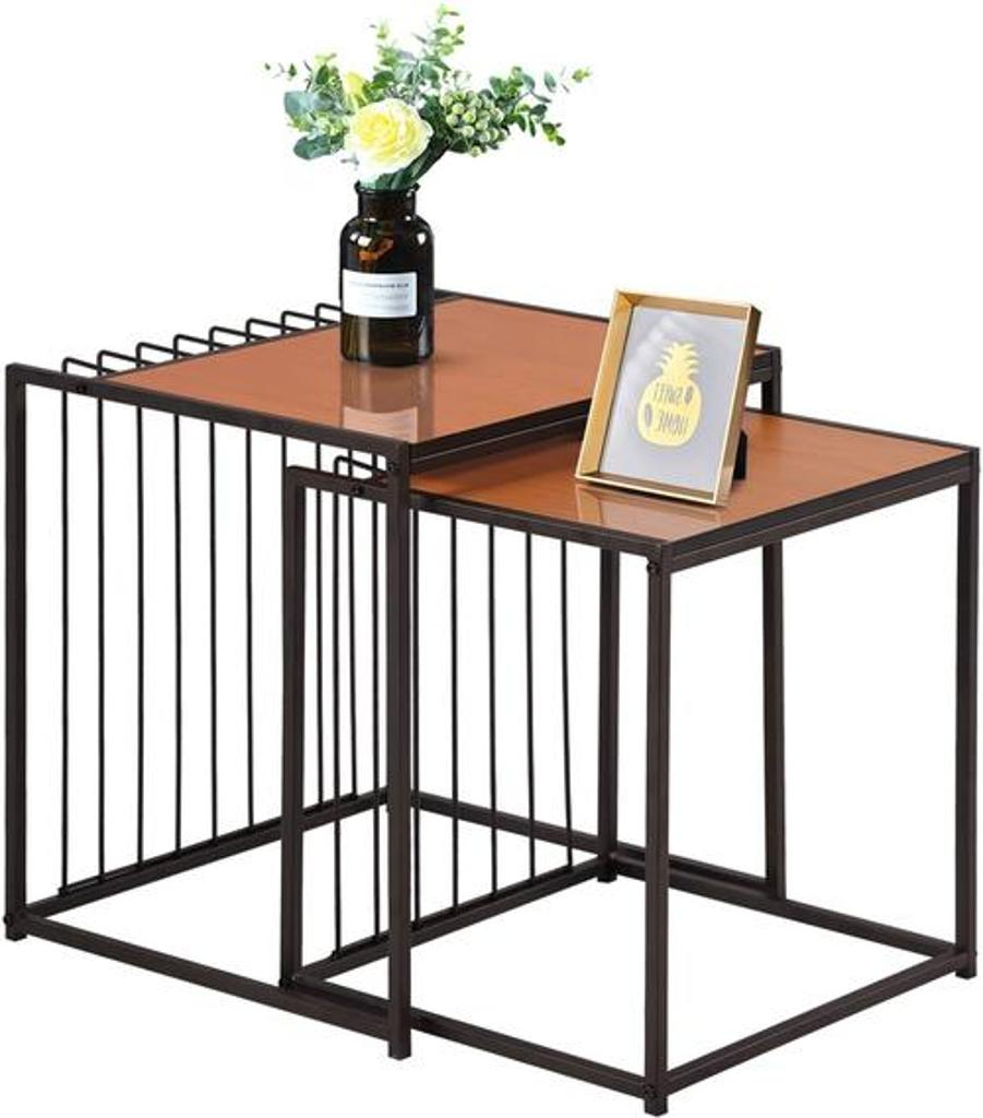 VECELO Industrial Nesting Coffee Stacking Side, Set of 2 End Table for Living Room Balcony Home and Office, Light Cheery