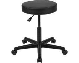 Offex Black Backless Medical Doctor Stool with Antimicrobial/Antibacterial Vinyl, Molded Foam Seat and Nylon Base