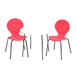 Gift Mark Modern Childrens Table and 2 Chair Set with Chrome Legs (Pink Color Chairs)