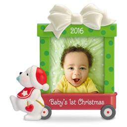 """Hallmark Keepsake Baby's First 2016 """"Beary Cute"""" Dated Picture Frame Holiday Ornament"""