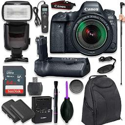 Canon Eos 6D Mark Ii Dslr With Ef 24105Mm F3556 Is Stm Lens With Pro Camera Battery Grip Professional Ttl Flash Deluxe Backpack Spare Lpe6 Battery (17 Items)