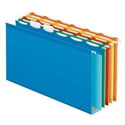 Pendaflex Ready-Tab Extra Capacity Reinforced Hanging File Folders, Legal Size, Assorted Colors, 6 Tab, 20/BX (42702)