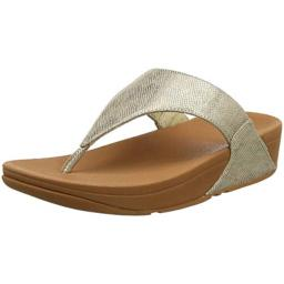 FitFlop Womens Lulu Toe Thong Sandal Shoes, Gold Shimmer Print, US 9