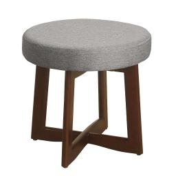 Wooden Ottoman with Fabric Upholstered Cushioned Top and Cross Base Legs, Gray and Brown