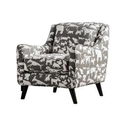 Wooden Sofa Arm Chair With Animal Printed Fabric Upholstery, White & Gray
