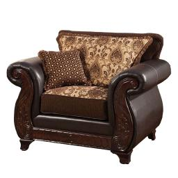 Transitional Style Wood Sofa Chair With Plush Padded Cushions, Black & Brown