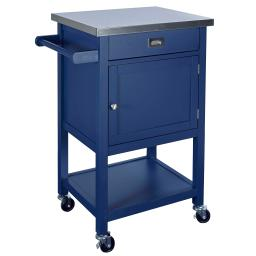 Contemporary Kitchen Cart with Stainless Steel Top and Casters, Blue