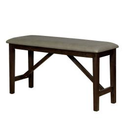 Wooden Counter Height Bench with Trestle Base, Brown and Gray