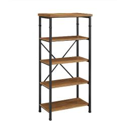 Wooden Bookcase with Four Shelves and Metal Legs, Brown and Black