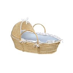Badger Basket Co Natural Hooded Moses Basket with Blue Gingham Bedding