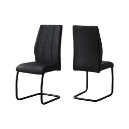 "Offex OFX-503727-MO Home Kitchen 2 Piece Dining Chair - 39""H/Black Leather-Look/Metal"