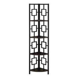 """Offex 62""""H Corner Etagere Bookcase with Black Metal Frame - Espresso"""