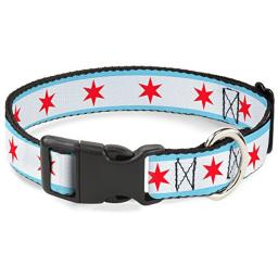 "Buckle-Down Plastic Clip Collar - Chicago Flag - 1"" Wide - Fits 11-17"" Neck - Medium"