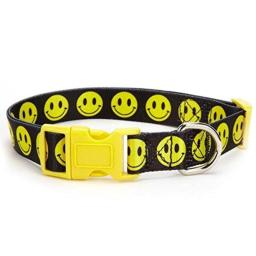 Casual Canine Smiley Face Collar, 18 to 26-Inch, Black