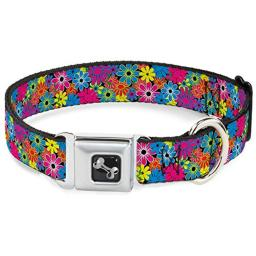 Dog Collar Seatbelt Buckle Flower Blossom 16 to 23 Inches 1.5 Inch Wide