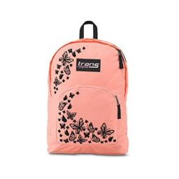 """Trans by JanSport Over 17.5"""" Backpack - Butterfly Print - Coral/Black - Laptop Sleeve"""