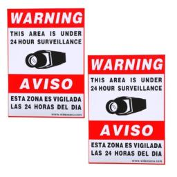 VideoSecu 2 Pack of 115x83 Security Warning Decal Weatherproof Vinyl Window Alarm Sign Sticker for Home CCTV DVR CCD Video Surveillance Camera System WO9