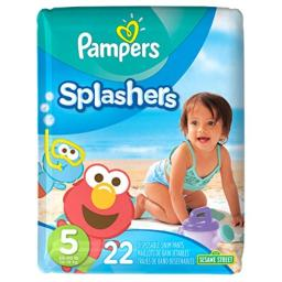 Pampers Splashers Disposable Swim Diapers, Size 5, 22 Count, JUMBO(Pack of 6)