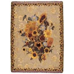 "Simply Home Sunflower Meadow Floral Mix Tapestry Throw Blanket 50"" x 70"""