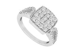 Cubic Zirconia Ring 14K White Gold 0.75 CT Cubic Zirconias