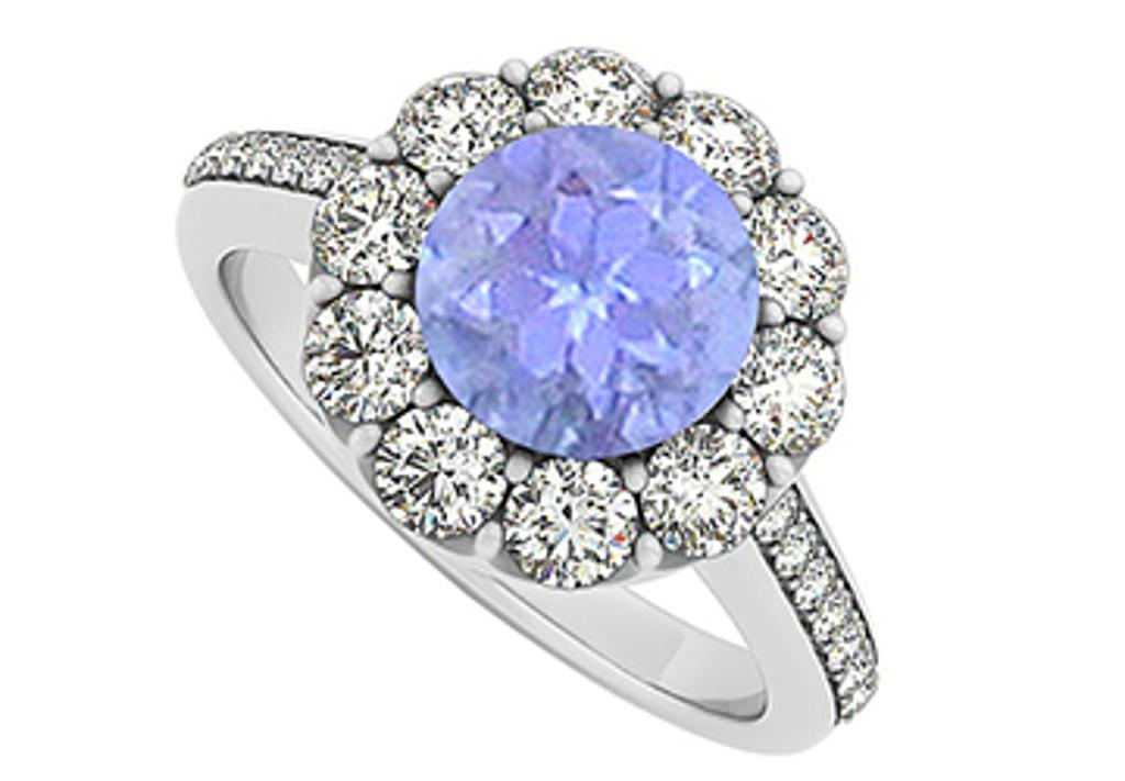 14K White Gold December Birthstone Tanzanite and Cubic Zirconia Halo Engagement Ring