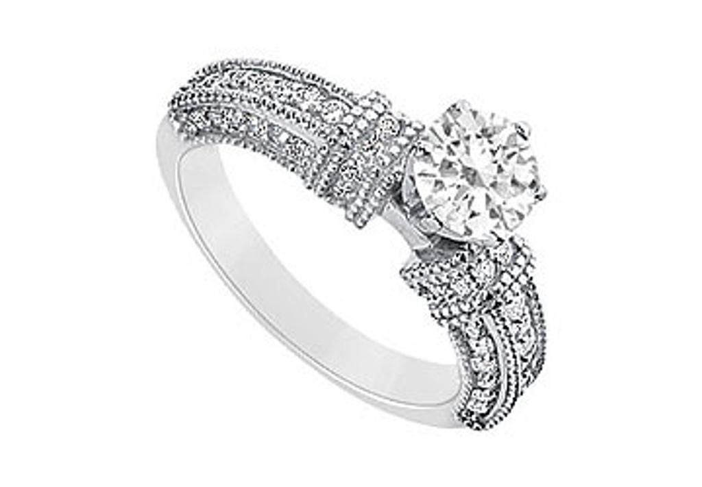 14K White Gold Engagement Ring of Cubic Zirconia 1 Carat Total Gem Weight