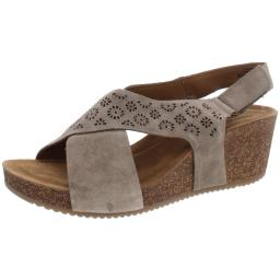 Comfortiva Womens Ellasyn Suede Cut-Out Wedge Sandals