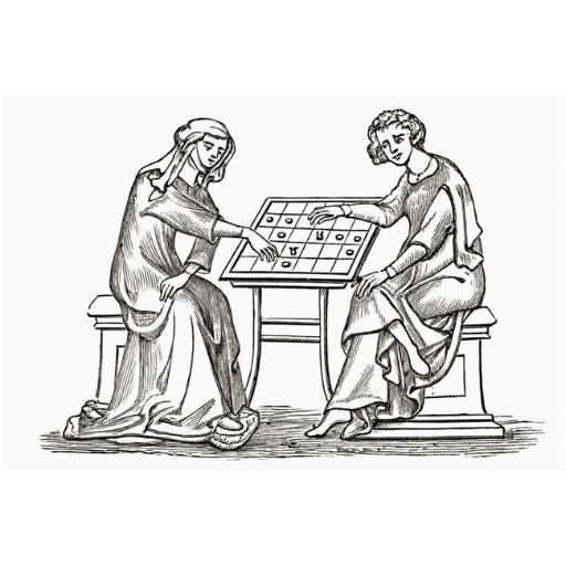 Posterazzi DPI1877902LARGE Lady & Youth Playing Draughts, Or Checkers, In The Early Fourteenth Century From The Book Short History of The English Peop