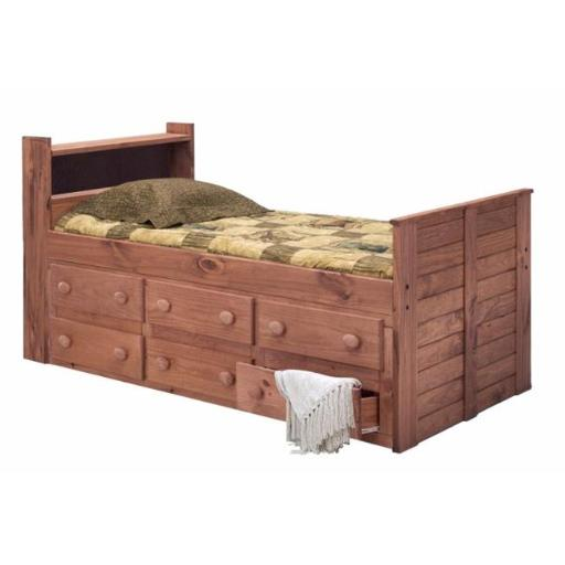 Chelsea Home Furniture 31346 Twin Bookcase Captain Bed with 6 Drawers, Mahogany Stain - 43 x 83 x 41 in.