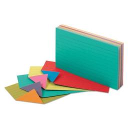 Oxford 04736 3 x 5 Extreme Index Cards - Vivid Assorted 04736