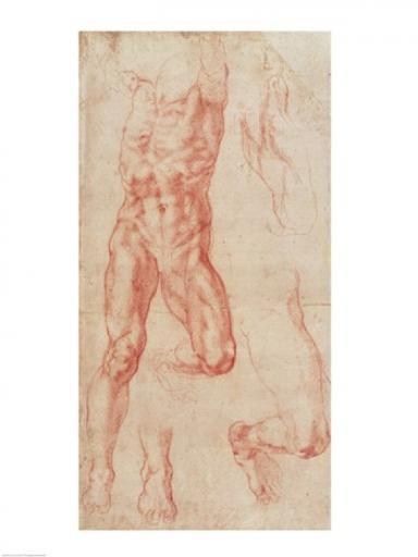 W.13r Study of a male nude, stretching upwards Poster Print by Michelangelo Buonarroti 1015531
