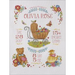 """Sweet Baby Birth Record Counted Cross Stitch Kit-10.5""""X13.5"""" 14 Count 47728"""
