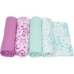 MiracleWare 2946 Stars Muslin Swaddle, 4 Pack