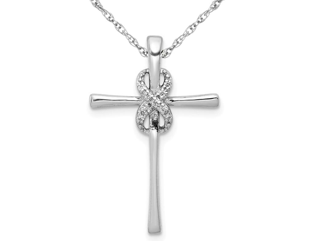 14K White Gold Diamond Accent Infinity Cross Pendant Necklace with Chain
