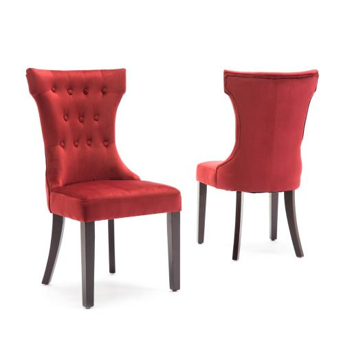 Belleze Set of 2pc, Premium Dining Chairs Side Armless w/ Wooden Legs, Red