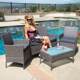 BELLEZE 4 PC Rattan Patio Furniture Garden Lawn Sofa Outdoor Weather Resistant Wicker Cushioned Seat Set, Gray