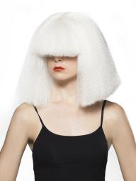 Chandy Wig - White Sia Chandelier Singer Hair Covers Eyes Costume Halloween