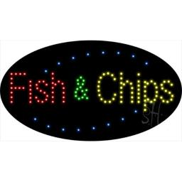Sign Store L100-1935-outdoor Fish And Chips Animated Outdoor LED Sign, 27 x 15 x 3.5 In.