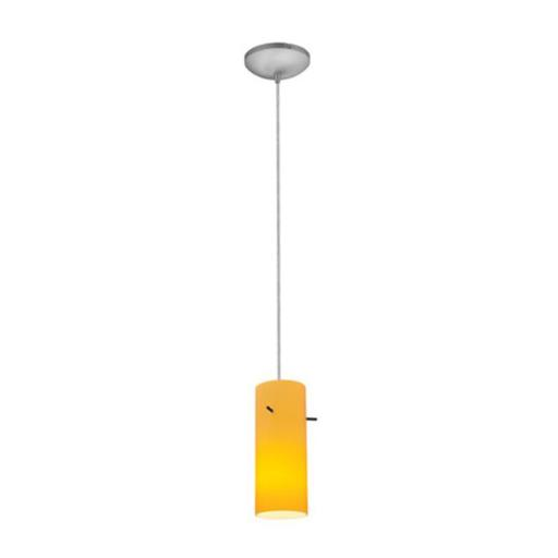 Accesslighting 28030-3C-BS-RED Cylinder A-19 LED Cord Red Glass Pendant, Brushed Steel
