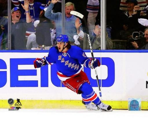 Carl Hagelin of the New York Rangers celebrates after scoring a goal in the first period during Game Four of the Eastern Conference Final in the. CS6AKCKDXQKFUFVV