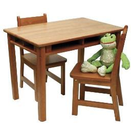Lipper 534p rect table chair set pecan