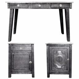 Benzara BM155317 of Traditional Style Wooden Console Table with Desk, Gray