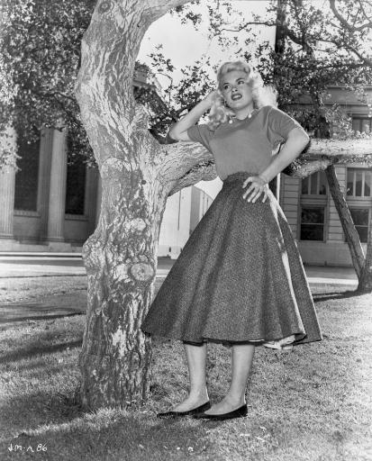 Jayne Mansfield Posed in Grey Velvet Short Sleeve Dress and Black Tweed Pleated Skirt with Head Leaning on the Right Hand Photo Print