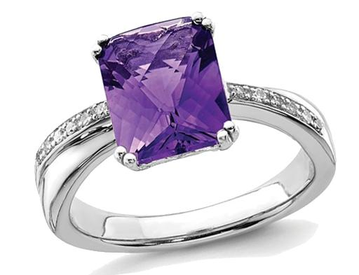 3.30 Carat (ctw) Natural Amethyst Ring in Polished Rhodium Plated Sterling Silver