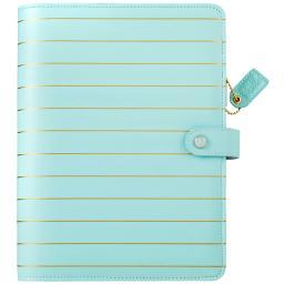 "Color Crush A5 Faux Leather 6-Ring Planner Binder 7.5""X10""-Blue W/Gold Stripe A5001-IB"